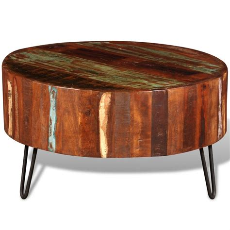 solid wood round coffee table reclaimed solid wood round coffee table vidaxl com