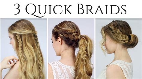 3 Quick Braided Hairstyles Updo, Half Up Half Down, And