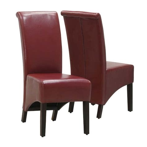 faux leather dining chair in burgundy set of 2 i1778by