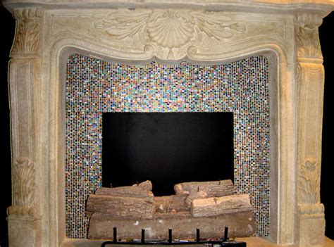 mosaic tile fireplace artistic mosaic and fused glass tiles to cover a fireplace