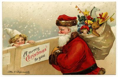 antique image santa  snow  cute child