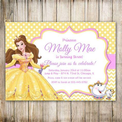 beauty   beast birthday invitation princess belle
