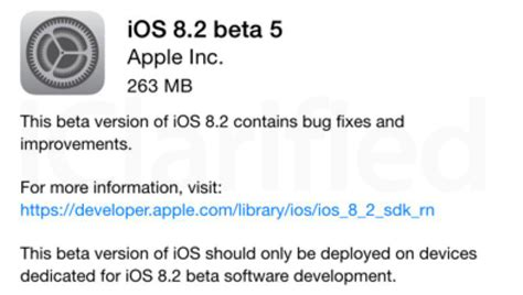 apple releases ios 8 2 beta 5 to developers iclarified