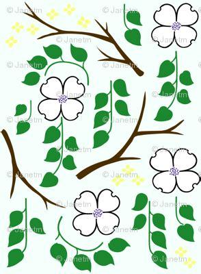 Dogwood for Spoonflower wallpaper - janetm - Spoonflower