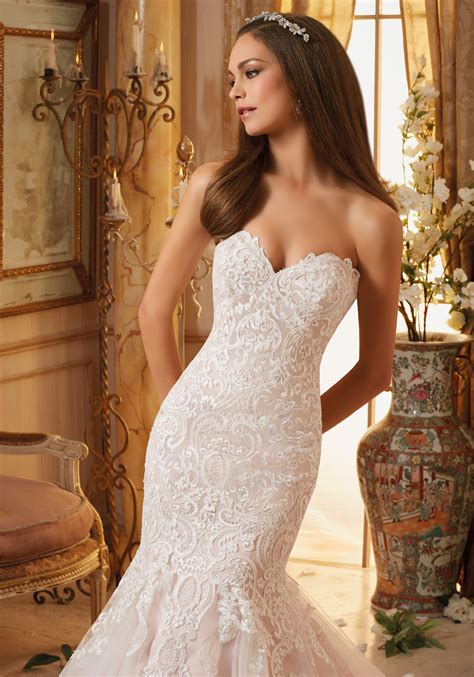 vintage embroidery  soft net bridal gown style