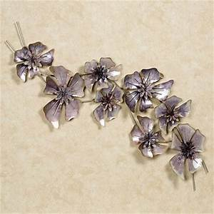 Purple floral waltz metal wall sculpture