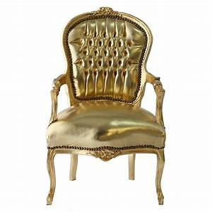 Salon armchair accents chair antique style side chair for Gold leather chair