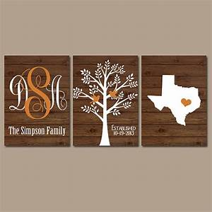 Family tree wall art personalized monogram canvas or prints for Personalized wall decor