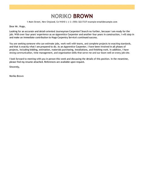 Apprentice Electrician Cover Letter Sle by Amazing Apprentice Carpenter Cover Letter Exles
