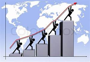 Business Diagram With Graph Going Up On World Map Background