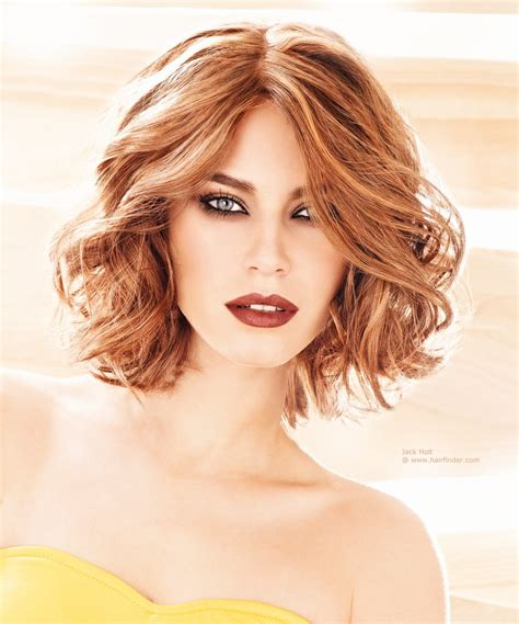 wavy medium long bob with hair that falls evenly to both sides