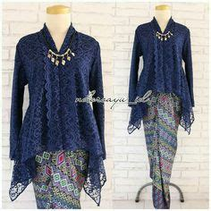 inspirasi kebaya modern brokat biru  rok batik