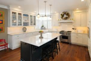 Center Island Designs For Kitchens White Kitchen With Black Island Traditional Kitchen Boston By Vartanian Custom Cabinets