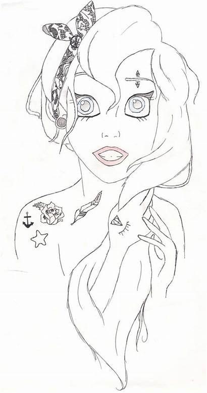 Ariel Coloring Disney Punk Emo Princess Pages