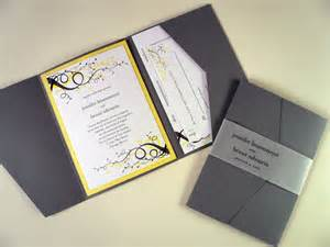 yellow wedding invitations gray and yellow swirl wedding invitation starglow studios