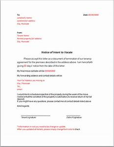 notice letter to landlord notice if intent to vacate With giving notice to landlord template