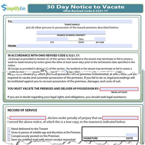 30 day notice to vacate ohio form ohio notice to vacate