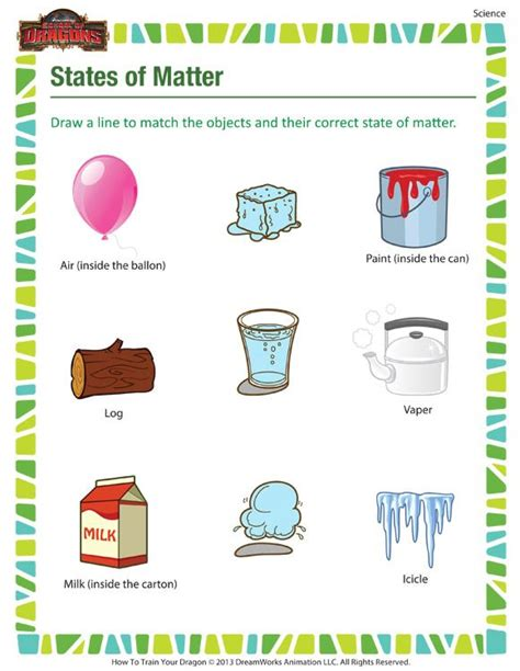 states  matter science printable  grade  matter