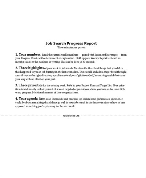 sample job progress reports  ms word