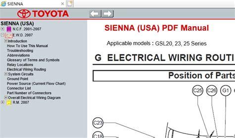 service repair manual free download 2010 toyota sienna regenerative braking toyota sienna usa gsl20 23 25 service repair manual ewd 2003 2010 service manual