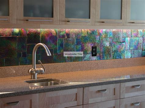 Oceanside Glass Tile Raku Iridescent Kitchen Backsplash