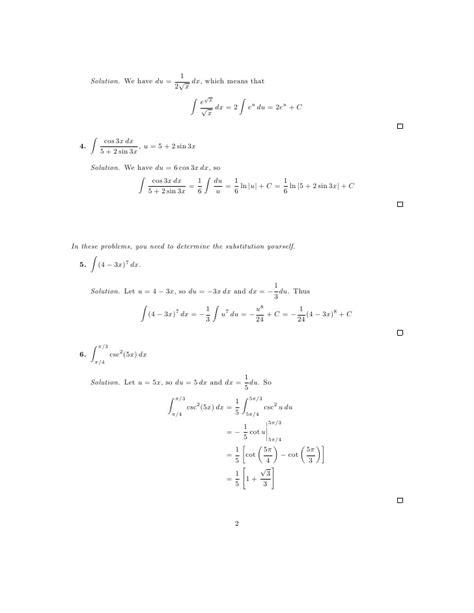 lesson  integration  substitution worksheet solutions