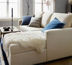 Soma bryant upholstered sofa with storage chaise sectional for Small sectional sofa pottery barn