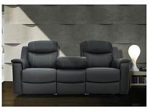 Canapes relax evasion en cuir gris ou blanc ivoire for Tapis chambre bébé avec canapé 3 places relaxation