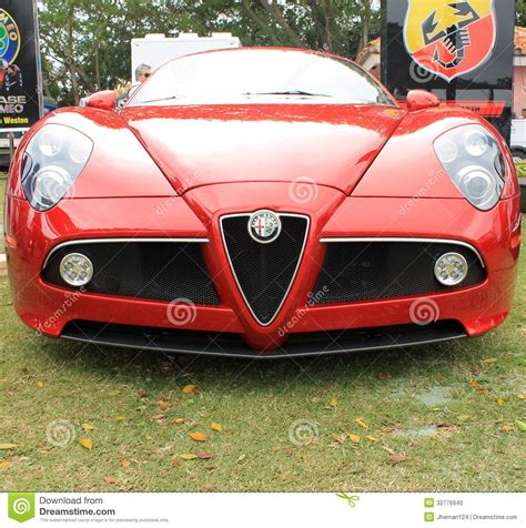 Red Modern Alfa Romeo Sports Car Front Editorial Image
