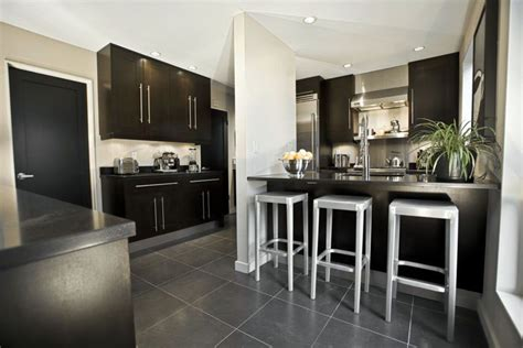 kitchen with black floor tiles beautiful black kitchen cabinets design ideas 8738