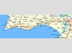 Map of the Algarve and Costa de la Luz