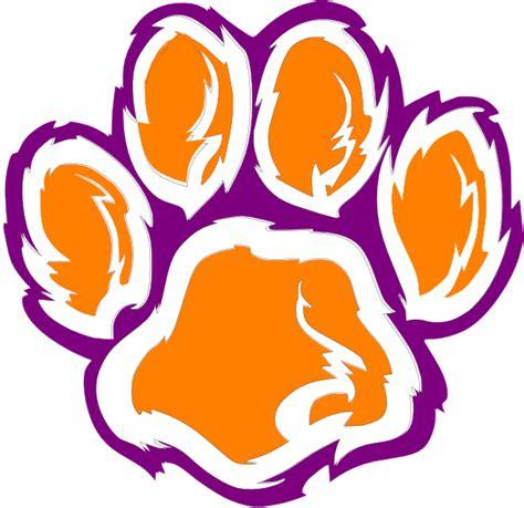 Tiger Paw Clip Tiger Paw White Orange Purple Clip At Clker