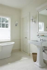 bathroom with beadboard backsplash cottage bathroom With bead board in bathroom