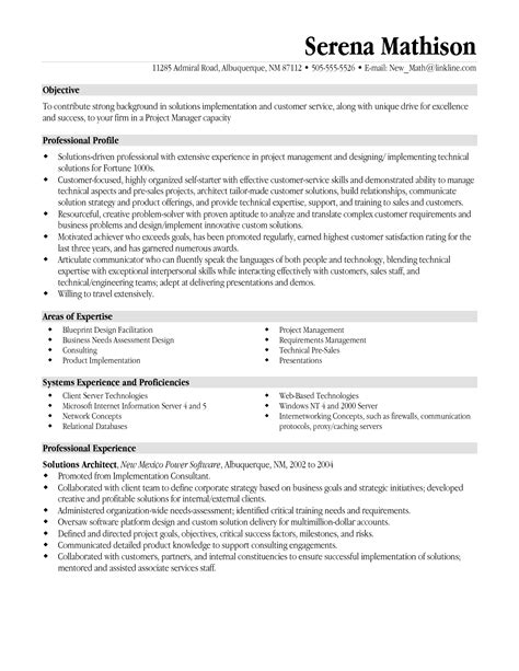 resume templates project manager project management