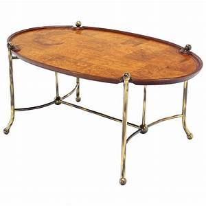 patch burl wood and brass base oval coffee table for sale With wood and brass coffee table