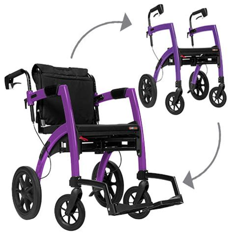 rollator walker transport chair combo rollz motion rollator and wheelchair combination purple