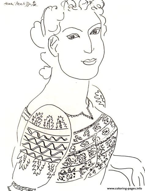 adult matisse romanian blouse drawing coloring pages printable