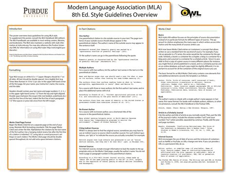 The powerpoint research poster template format doesn't get any simpler than the options on this site. MLA Classroom Poster // Purdue Writing Lab
