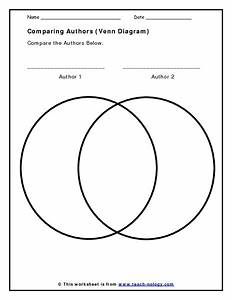 Comparing Authors  Venn Diagram  Worksheet For 5th