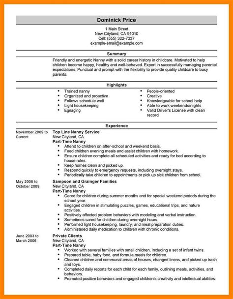how to write nanny on a resume 28 images sle nanny