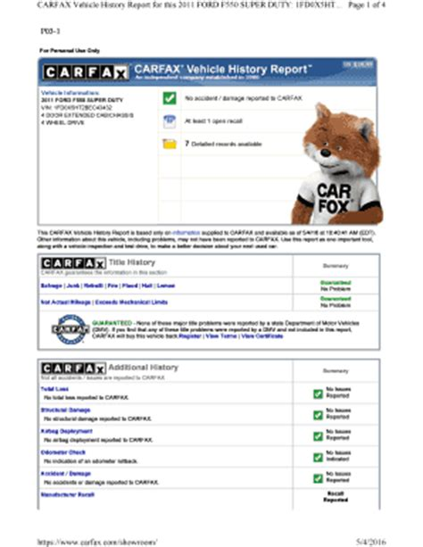 Fillable Online Carfax Vehicle History Report For This