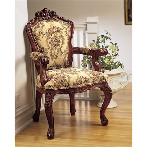 design toscano carved rocaille fabric arm chair reviews