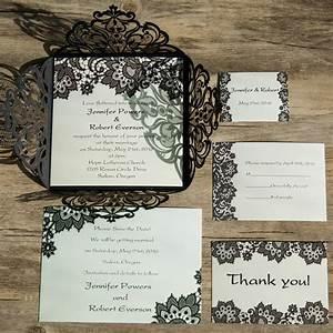 black lace vintage laser cut invites iwsm053 wedding With laser cut lace wedding invitations canada
