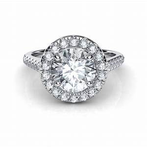 Floating round halo diamond engagement ring for Halo engagement rings with wedding bands