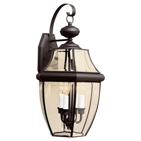 sea gull lighting curved beveled black three light outdoor