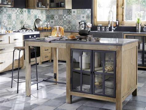 ilot central en pin recycle copenhague meuble de cuisine maisons du monde izivacom