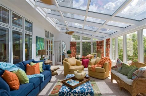 7 Great Sunroom Ideas  Modernize. Stylish Ceiling Fans. Bling Chandelier. 8x8 Post. Bensonwood. Tile Murals. Modern Wine Rack. Antique Brass Faucet. Entertainment Center Ideas