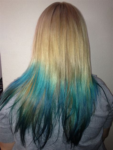 Blueteal Ombre On Blonde Hair Helluva Hair Style