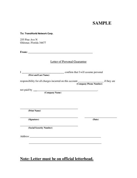 Letter of Personal Guarantee - Edit, Fill, Sign Online
