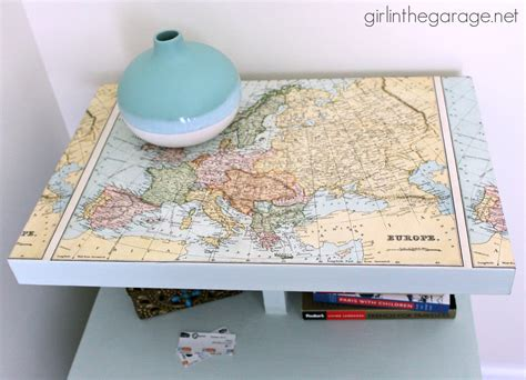 white coffe tables decoupaged map table themed furniture makeover day